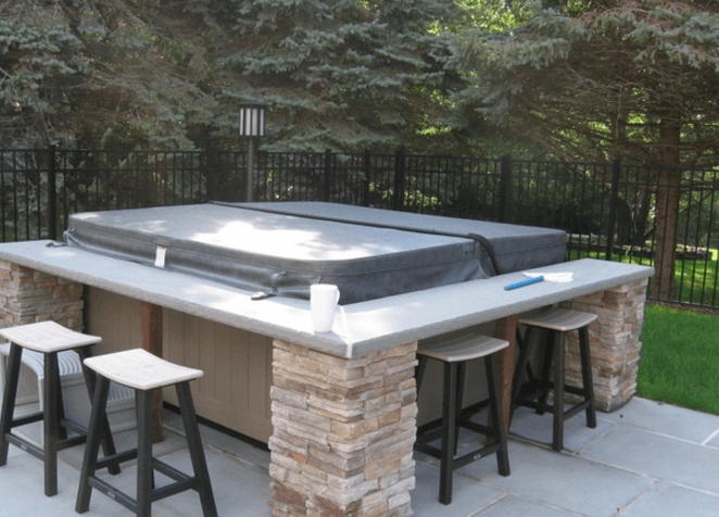 Good Awesome Idea   Hot Tub With Bar Surround