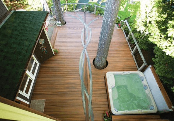 Incredible Hot Tub Deck Design with Live Tree
