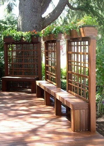 Deck with Benches and Lattice