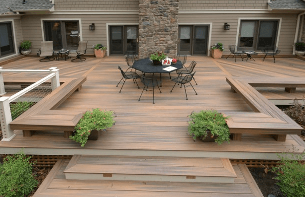 Modern Short Deck with Benches