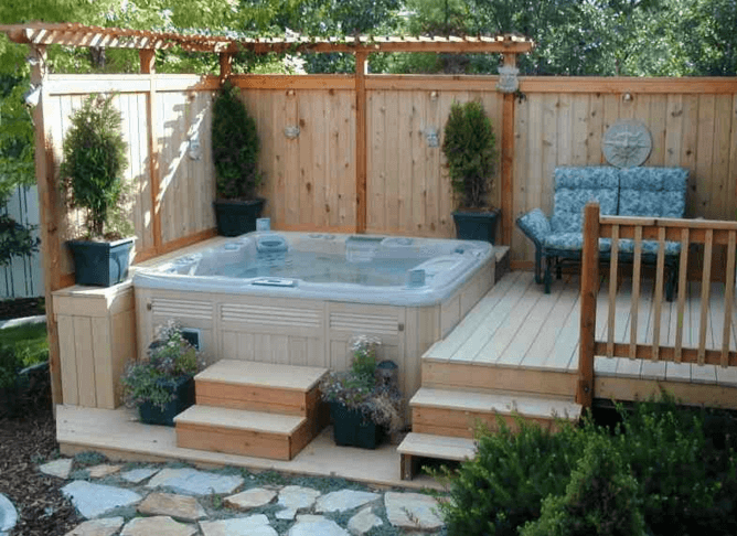 Hottub Deck for a Small Space - 63 Hot Tub Deck Ideas: Secrets Of Pro Installers & Designers