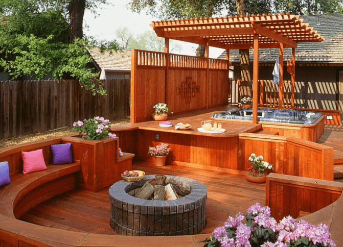 Wood Deck with Pergola and Hot Tub