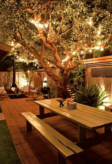 Patio with Picnic Table and Lighting