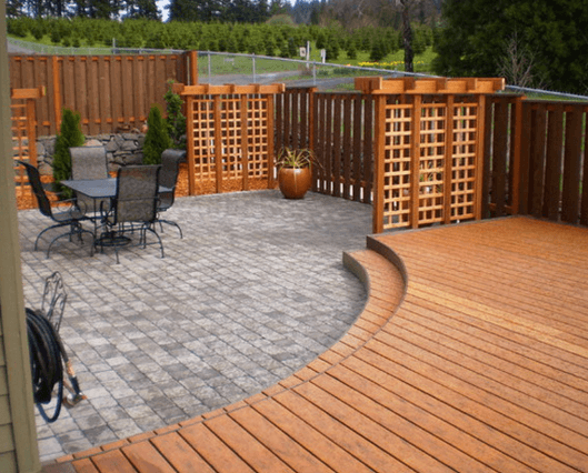 Deck And Patio Design With Wood And Stone