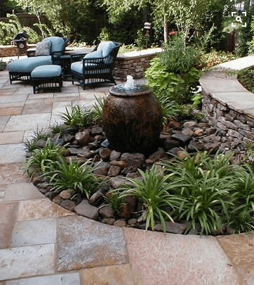 Gorgeous Garden Elements inset in Patio