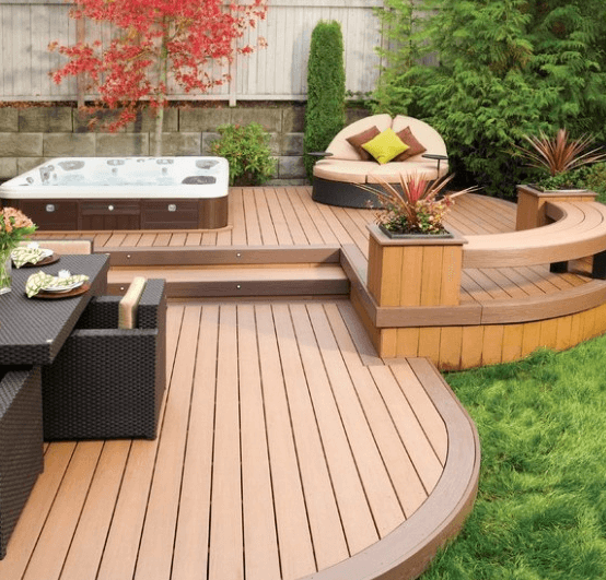 Adopt A Short Deck Design To Enlarge Your Backyard With Integrated Hot Tub
