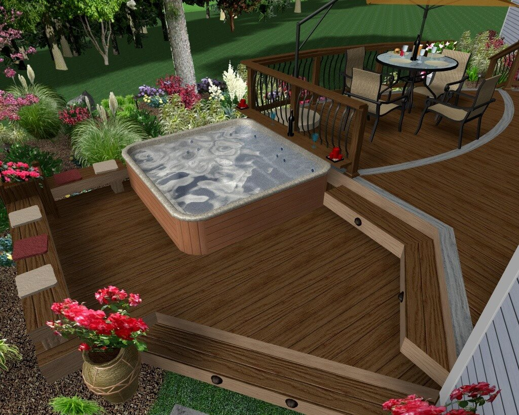 Hot Tub Deck Rendering with Levels
