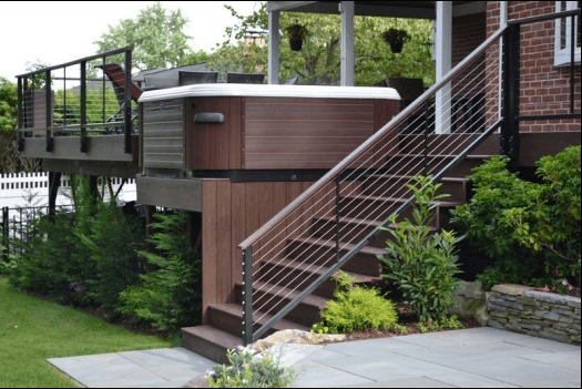 Raised Platform Hot Tub Design With Horizontal Stainless Steel Cable  Railing.