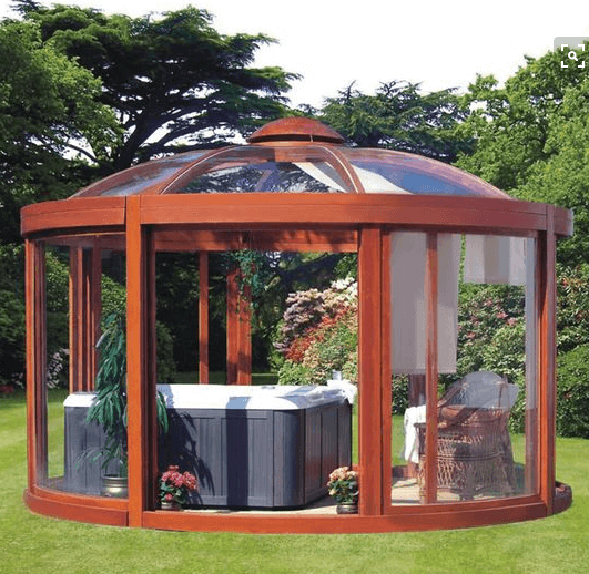 Wood and Glass Hot Tub Gazebo