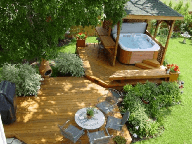 Hot Tub Deck With Gazebo And Patio Setting